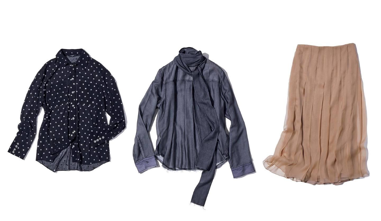 左から/シャツ(ブルーベル・ジャパン〈バルマン〉)、ブラウス(イザ〈ヌメロ ヴェントゥーノ〉)、スカート(グッチ ジャパン)