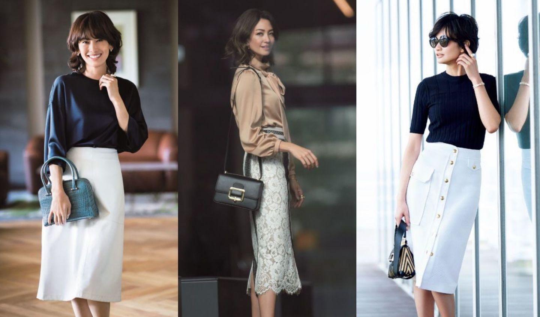 フレアスカートやロングスカートなど、40代からの大人白スカート着こなし集
