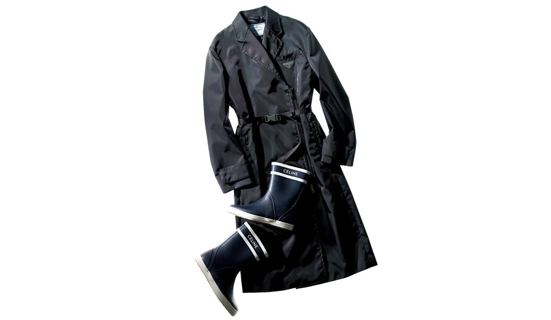 プラダのコートとセリーヌの靴