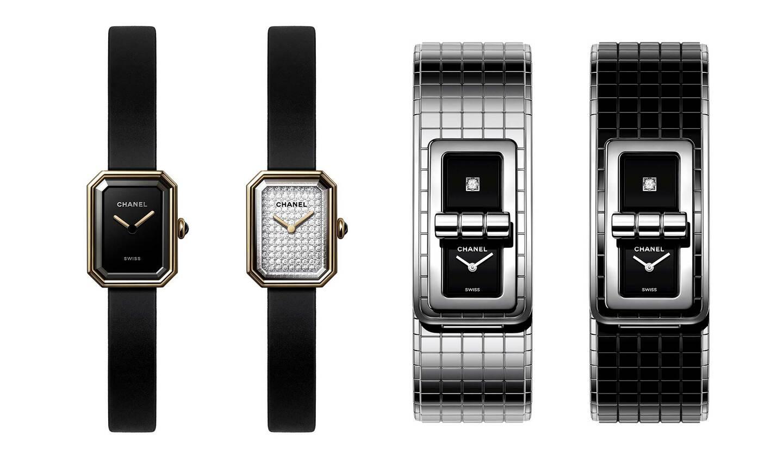 シャネルの時計左から、「プルミエール ヴェルヴェット」コレクション、「コード ココ」コレクション