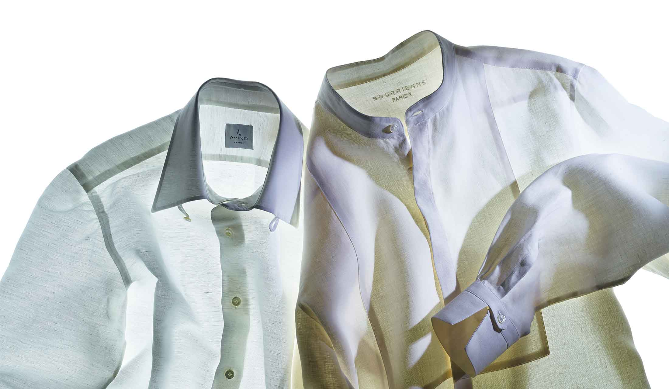 左/アヴィーノ ラボラトリオ ナポレターノのシャツ(ユナイテッドアローズ 六本木ヒルズ店〈アヴィーノ ラボラトリオ ナポレターノ〉)右/ブリエンヌ パリ ディスのシャツ(シップス 銀座店〈ブリエンヌ パリ ディス〉)