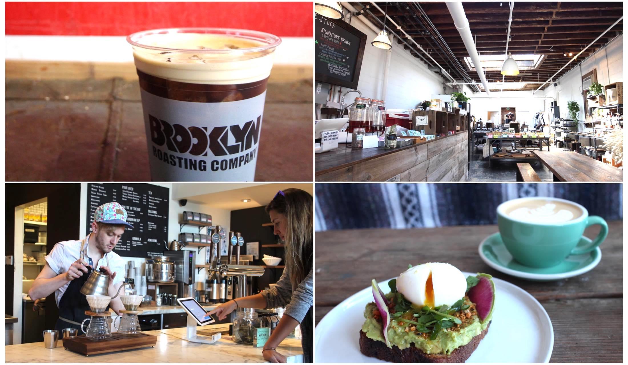 ブルックリンのおすすめカフェの店内とコーヒーの写真