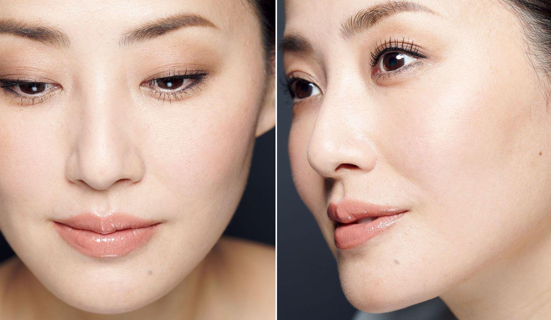 女性モデルの伏し目の顔と横顔