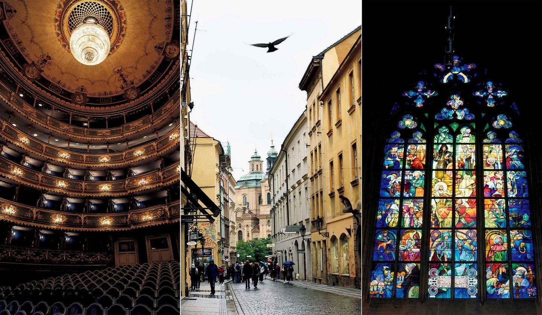左から/モーツァルトが愛した「エステート劇場」、プラハの街並み、プラハ城内「聖ヴィート大聖堂」にあるミュシャが描いたステンドグラス「聖キリルと聖メドディウス」
