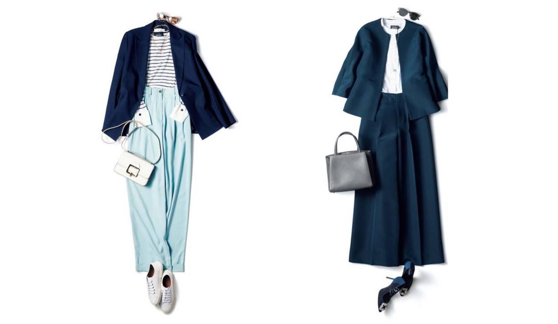 紺ジャケットに合うズボンやスカートのコーディネート2つ