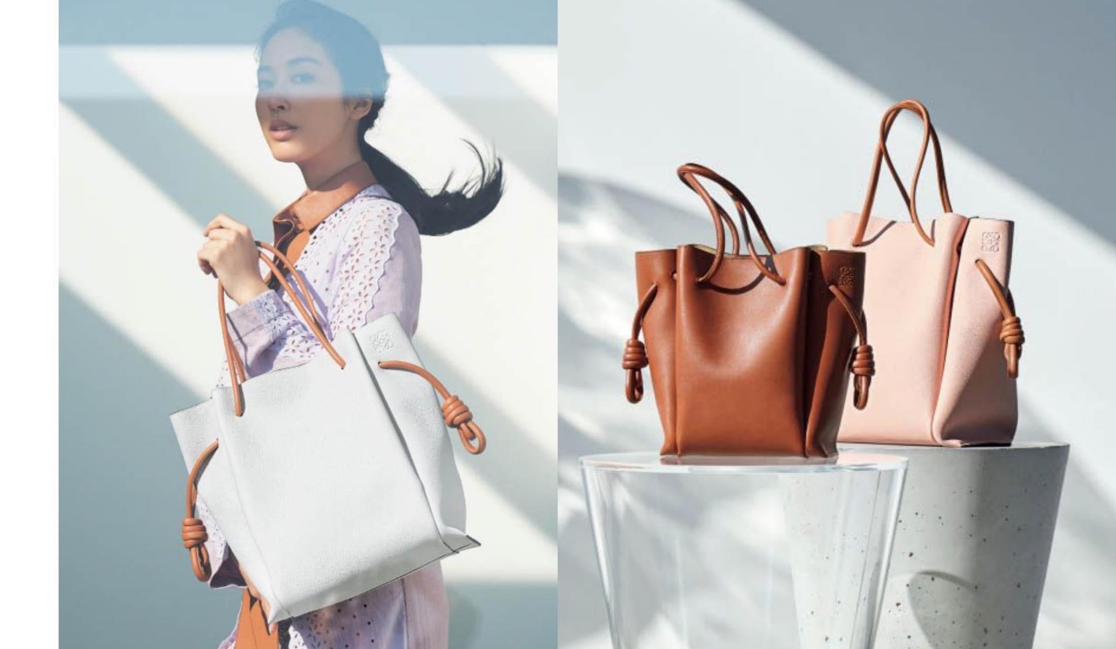 ロエベのトートバッグ「フラメンコ ノット」の商品写真と、それを持っている女性の写真