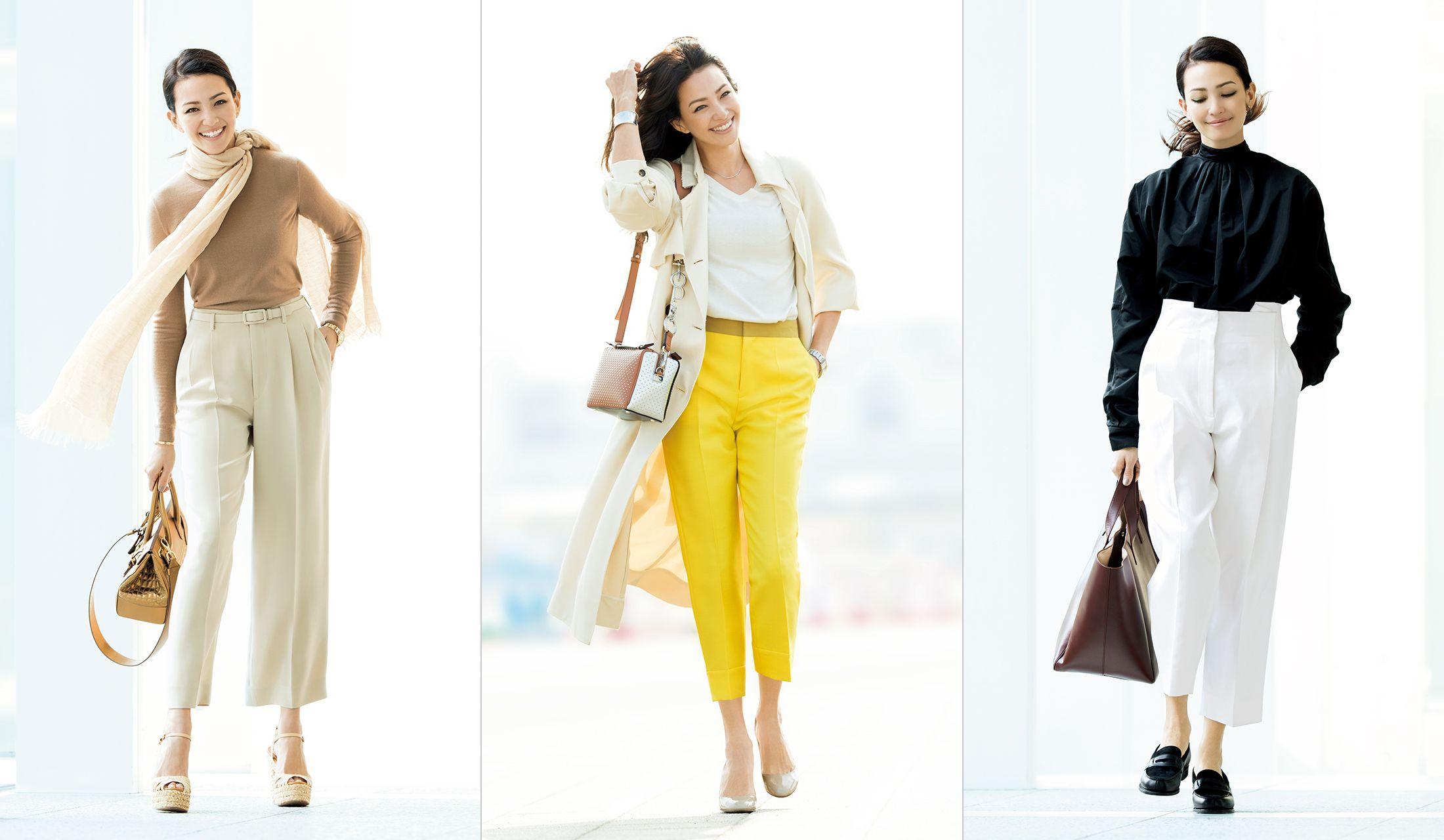 パンツの着こなしをした女性3人の画像