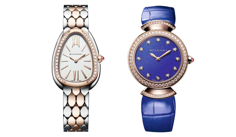 ブルガリの時計「セルペンティ セドゥットーリ」(左)、「ディーヴァ ドリーム」(右)