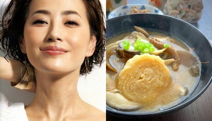 真樹麗子さんが、手作り味噌を使って作ったお味噌汁