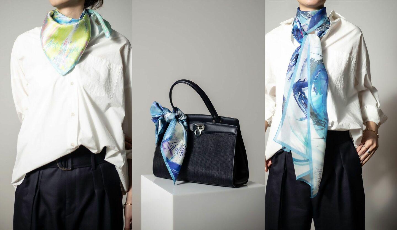 コンテスと踊絵師・神田さおりさんのコラボレーションによるスカーフ
