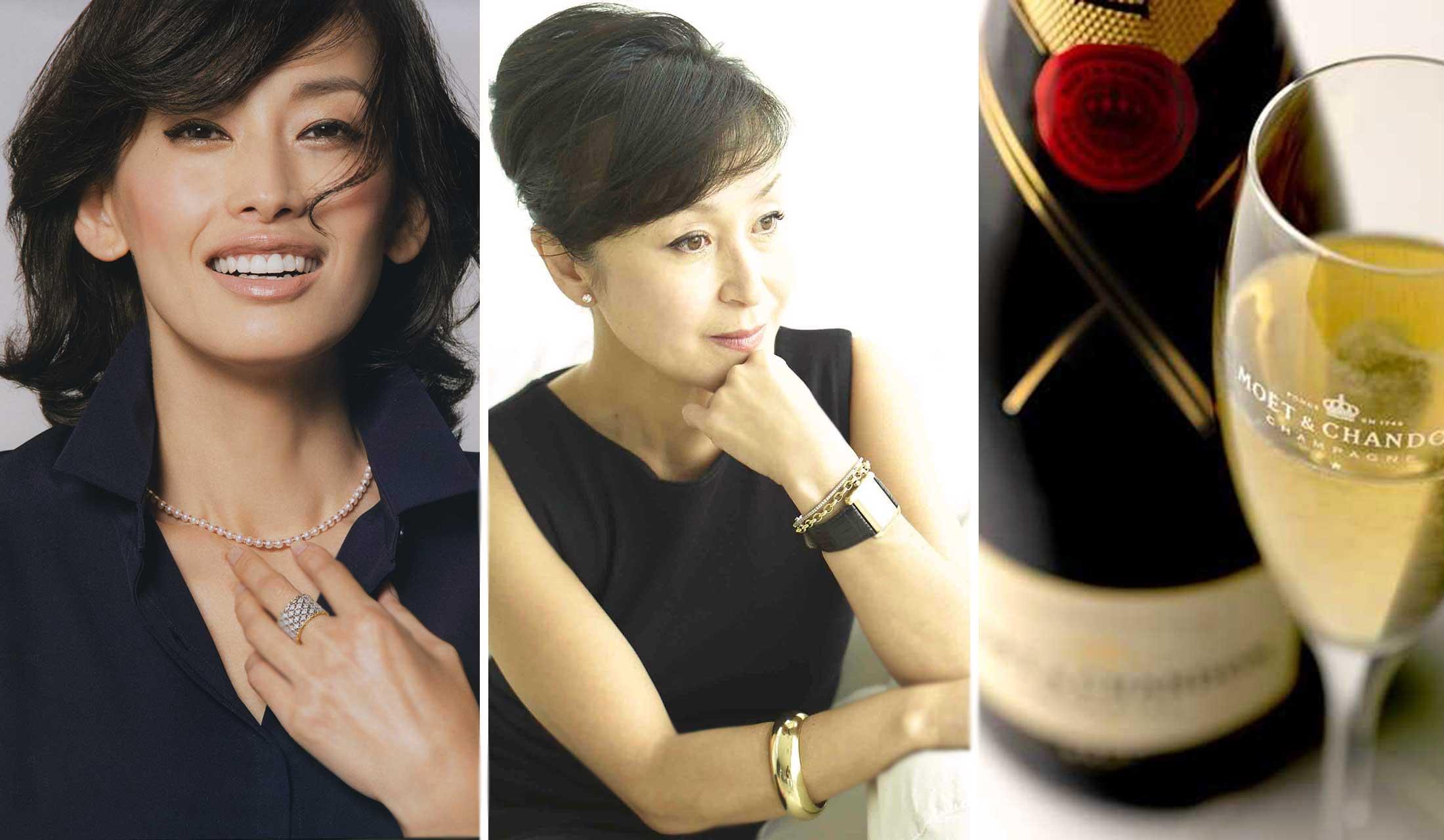 左より高橋里奈さん、戸野塚かおるさん、シャンパン