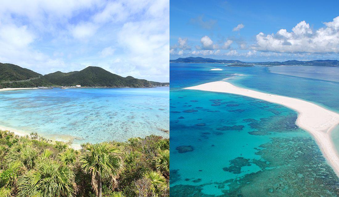"""""""慶良間ブルー""""の青い海・渡嘉敷島の「阿波連ビーチ」と、真っ白な砂の島「ハテの浜」"""