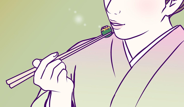 箸で和食を食べる女性のイラスト