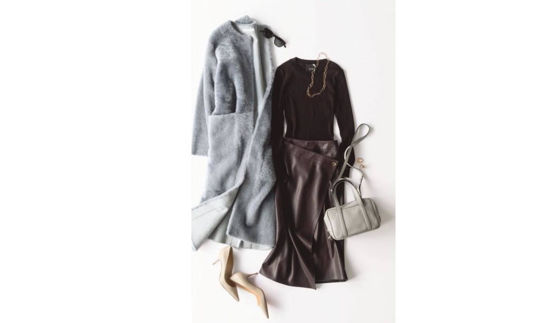 茶色ニットと茶色スカートを合わせた冬スタイル