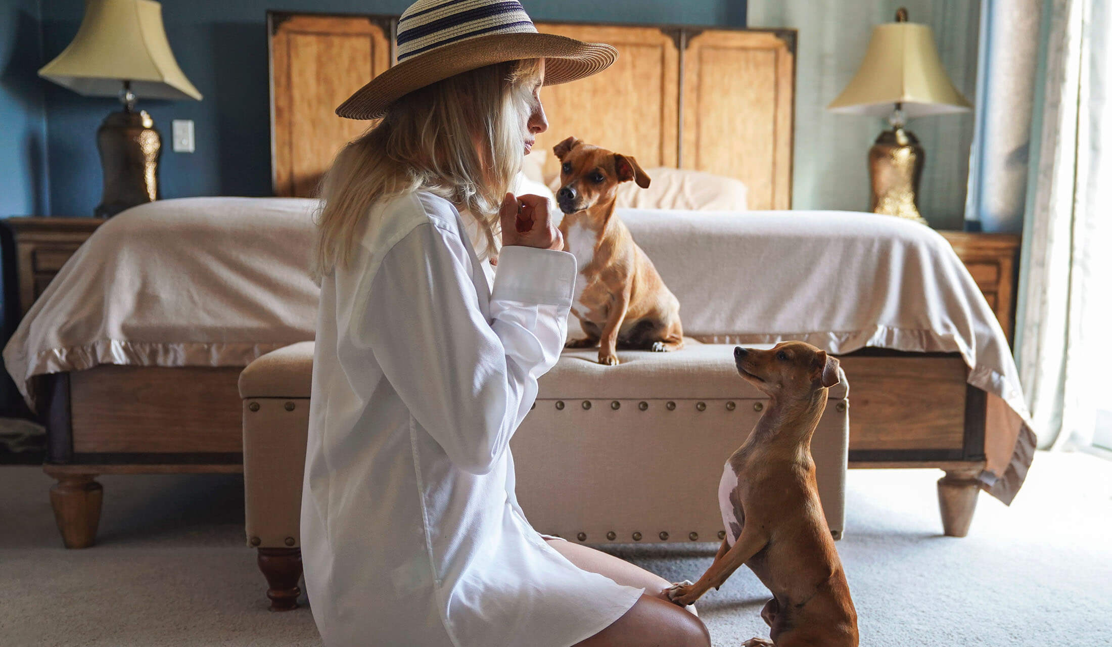 犬とホテルに滞在する女性