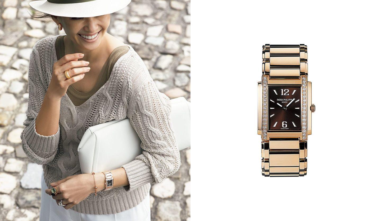パテック フィリップの時計と、その時計を身に着けた女性の写真。