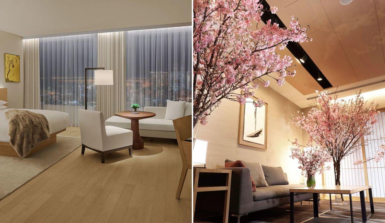 「東京エディション虎ノ門」と桜が飾られたホテルラウンジ