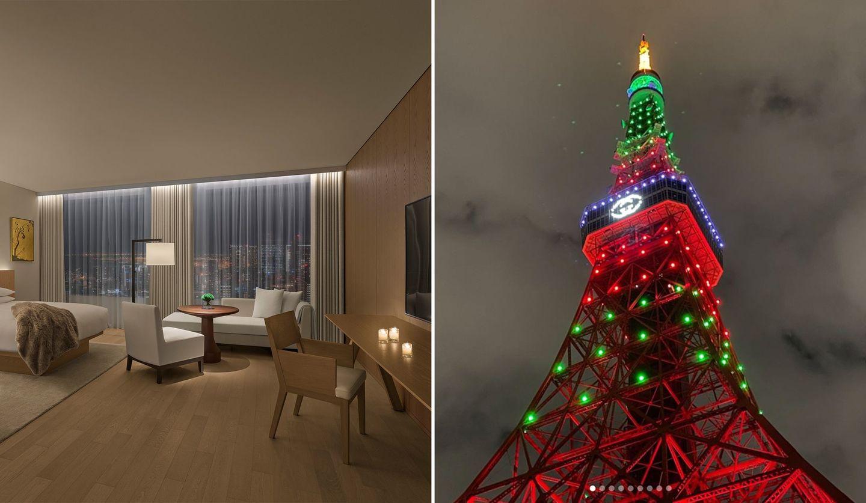 「東京エディション虎ノ門」の部屋とグッチカラーの東京タワー