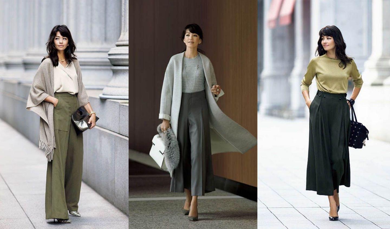 黒・ベージュ・ネイビーなど、40代からのワイドパンツ着こなし集