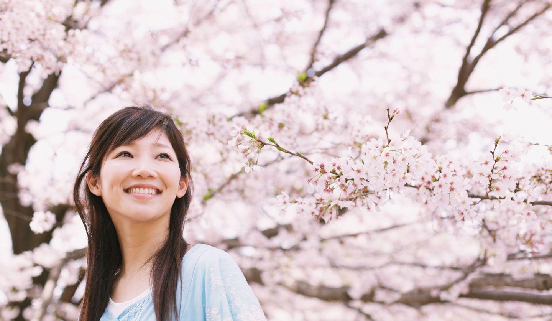 お花見をしている女性イメージ