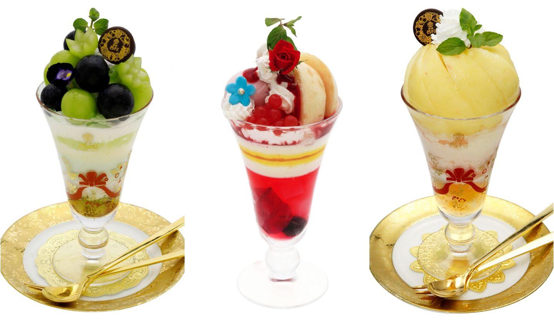 フルーツパーラー渋谷西村の「特選 桃パフェ」「薔薇と白桃のレアチーズパフェ」「特選 シャインマスカット&ナガノパープルパフェ」の画像