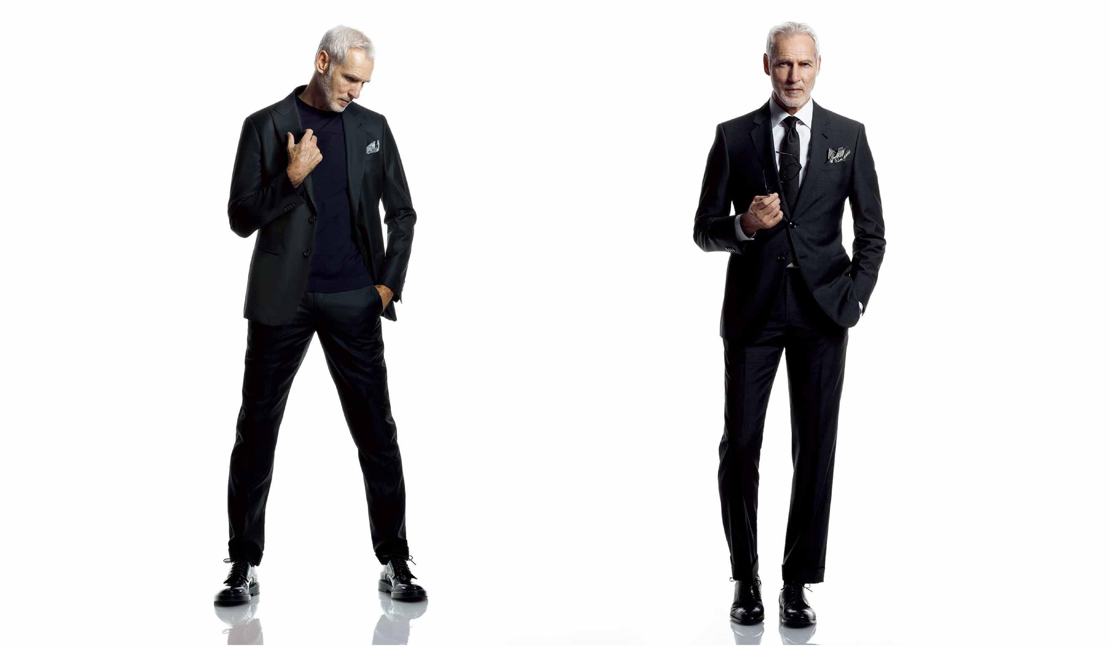 黒いスーツを着た外国人モデル