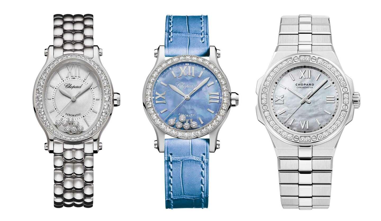 ショパールの時計左から「ハッピースポーツ オーバル」、「ハッピースポーツ」、「アルパイン イーグル」
