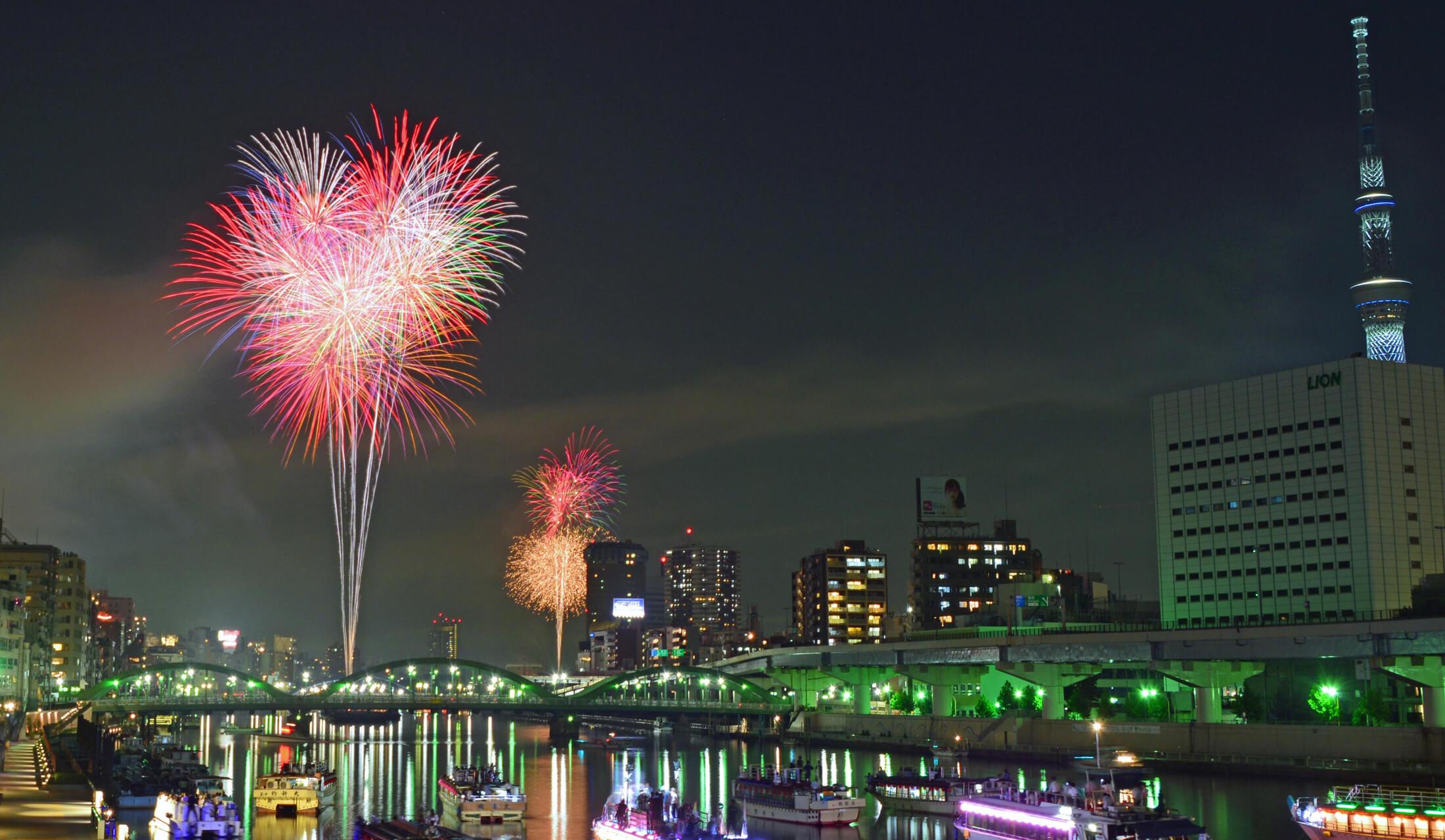 隅田川の2箇所から上がる花火とスカイツリー