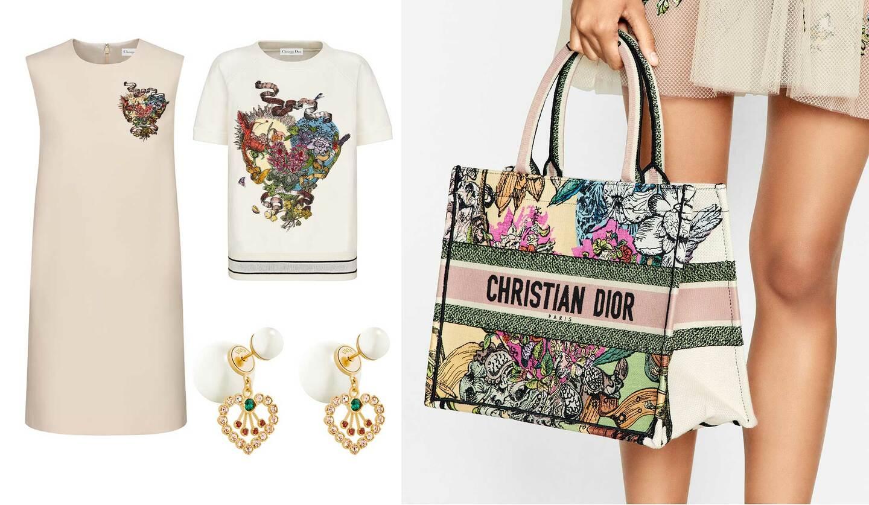 ディオールのカプセルコレクション「Cœur en fleurs (クール アン フルール)」より、ウエア、ジュエリー、バッグ