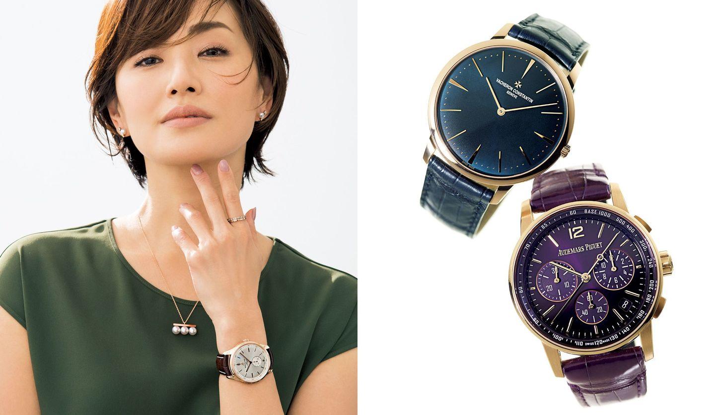 ブライトリングの時計をつけた女性モデル、ヴァシュロン・コンスタンタンとオーデマ ピゲの時計
