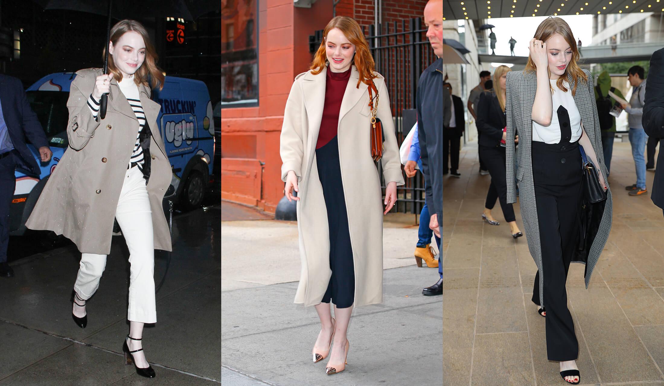 さまざまなコートを着こなすEmma Stone(エマ・ストーン)のストリートスナップ写真