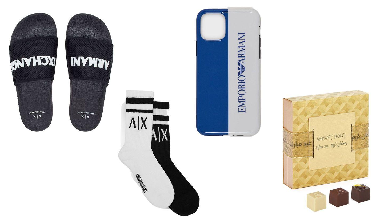 アルマーにのビーチサンダル、靴下、アイフォンケース、ショコラ