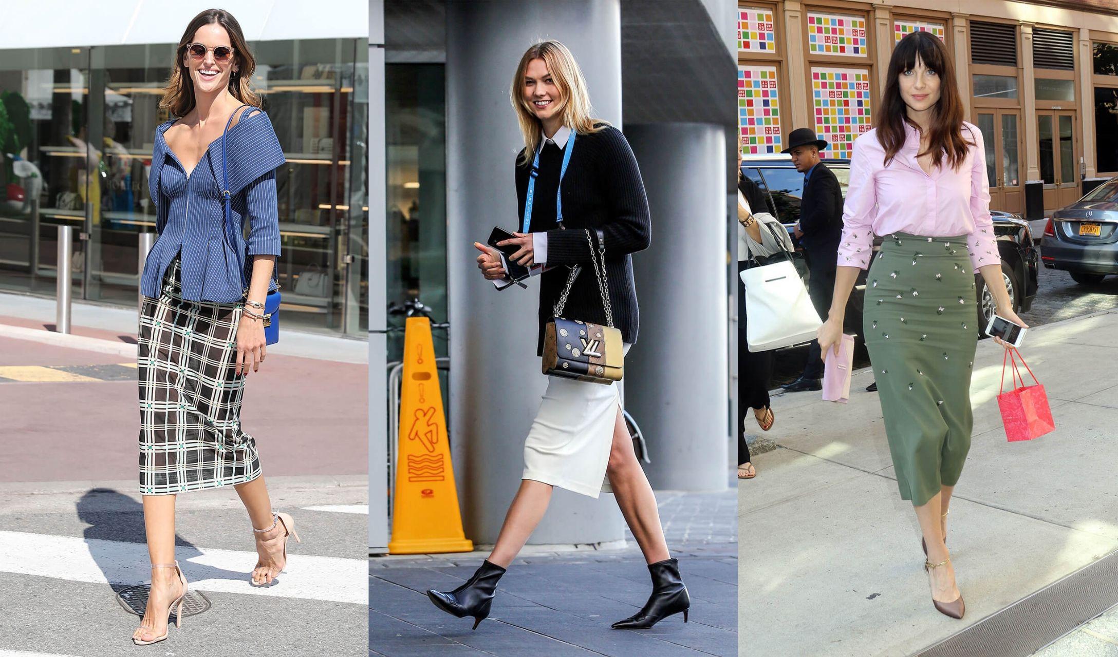 細身のタイトスカートを着こなす海外セレブのストリートスナップ写真