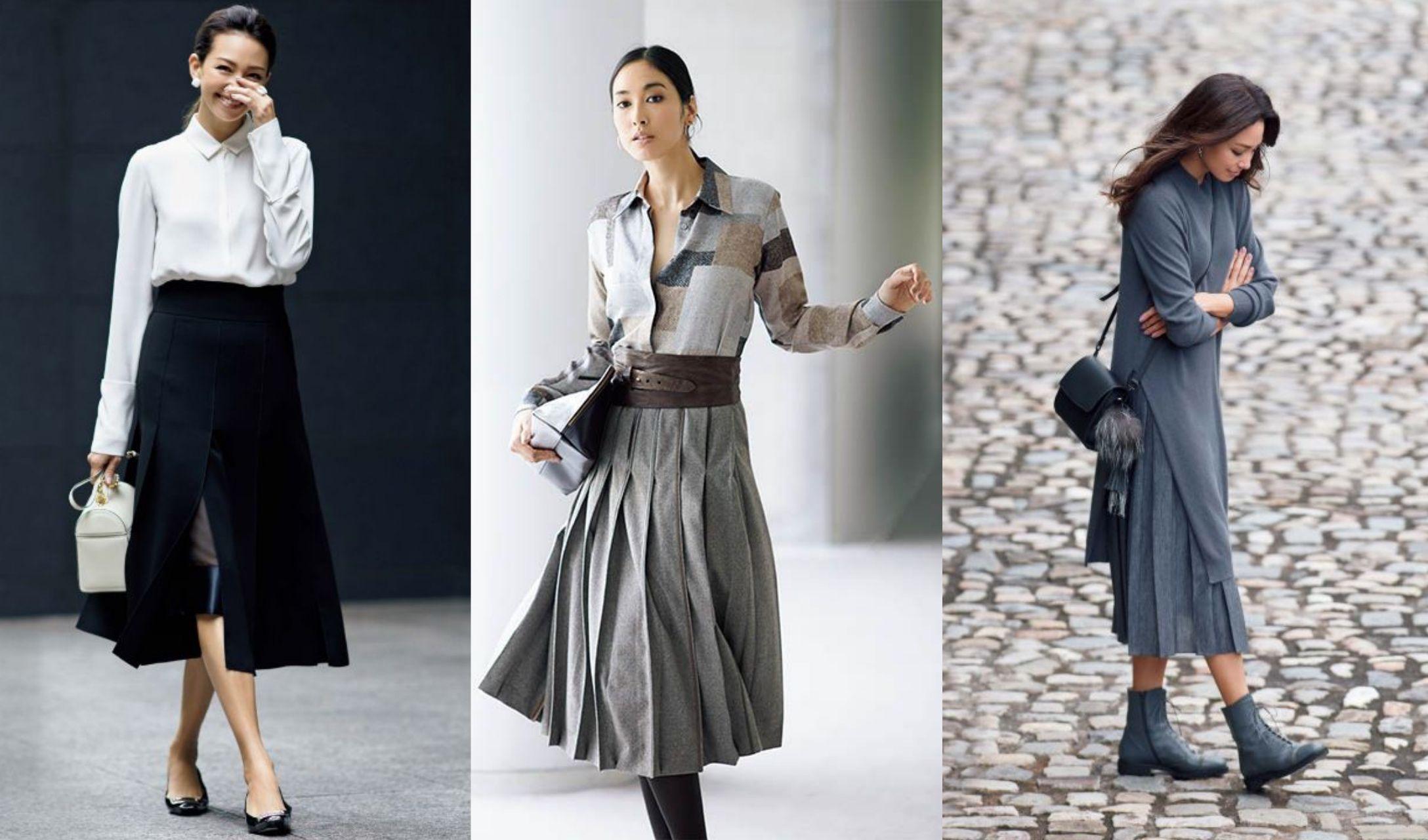人気のロングプリーツスカートなど、大人女性の着こなしコーデ集