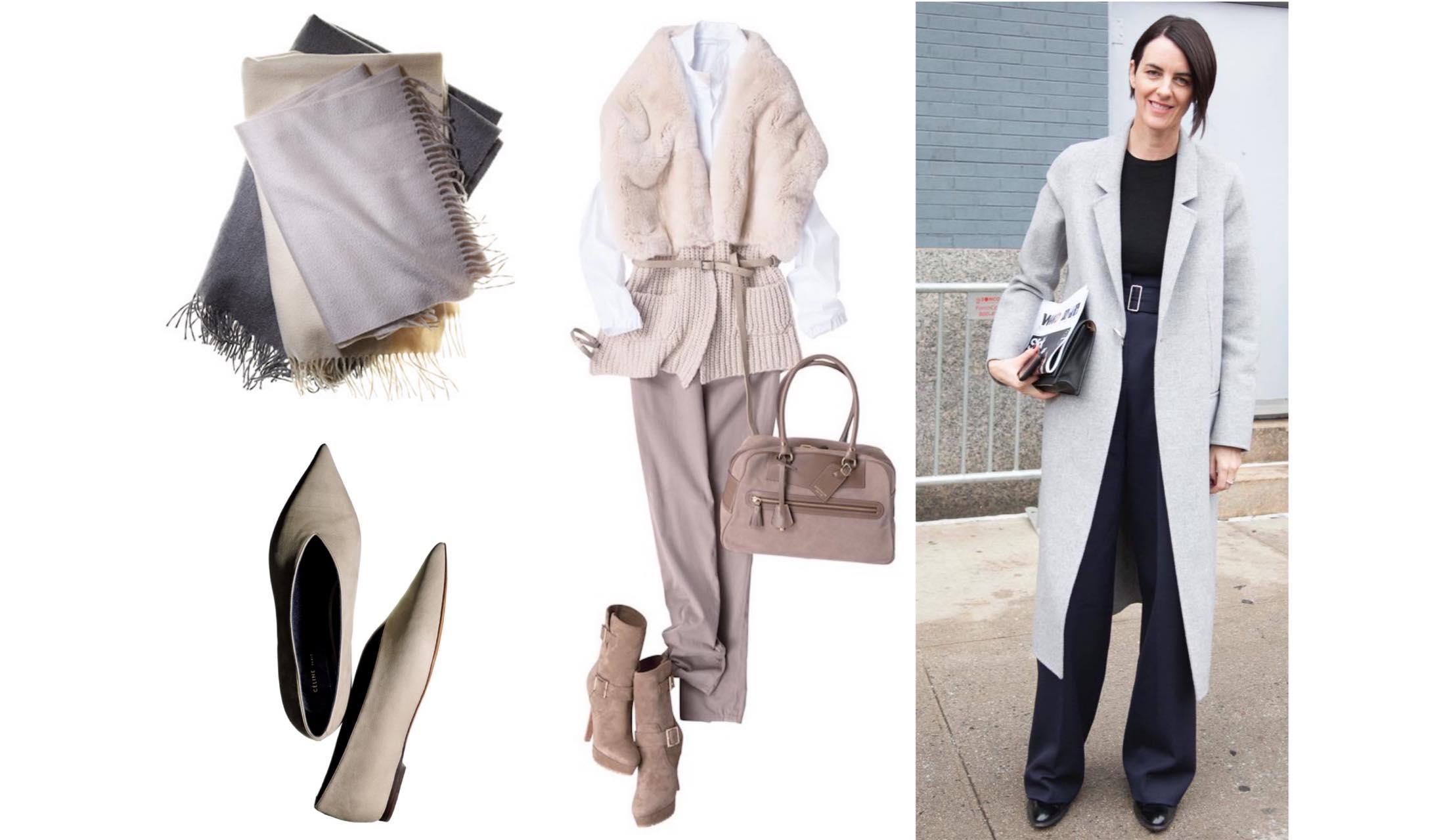 ニュアンスカラーの靴やスカーフ、ストリートスナップやコーディネートの写真
