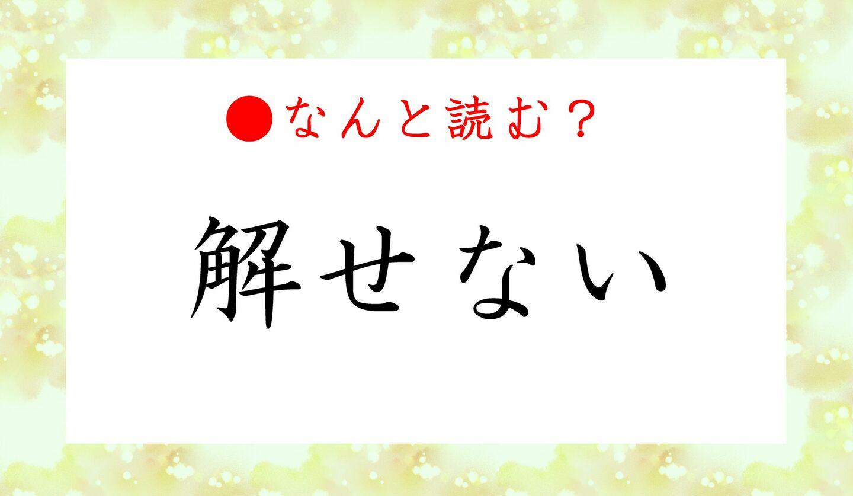 日本語クイズ 出題画像 難読漢字 「解せない」なんと読む?