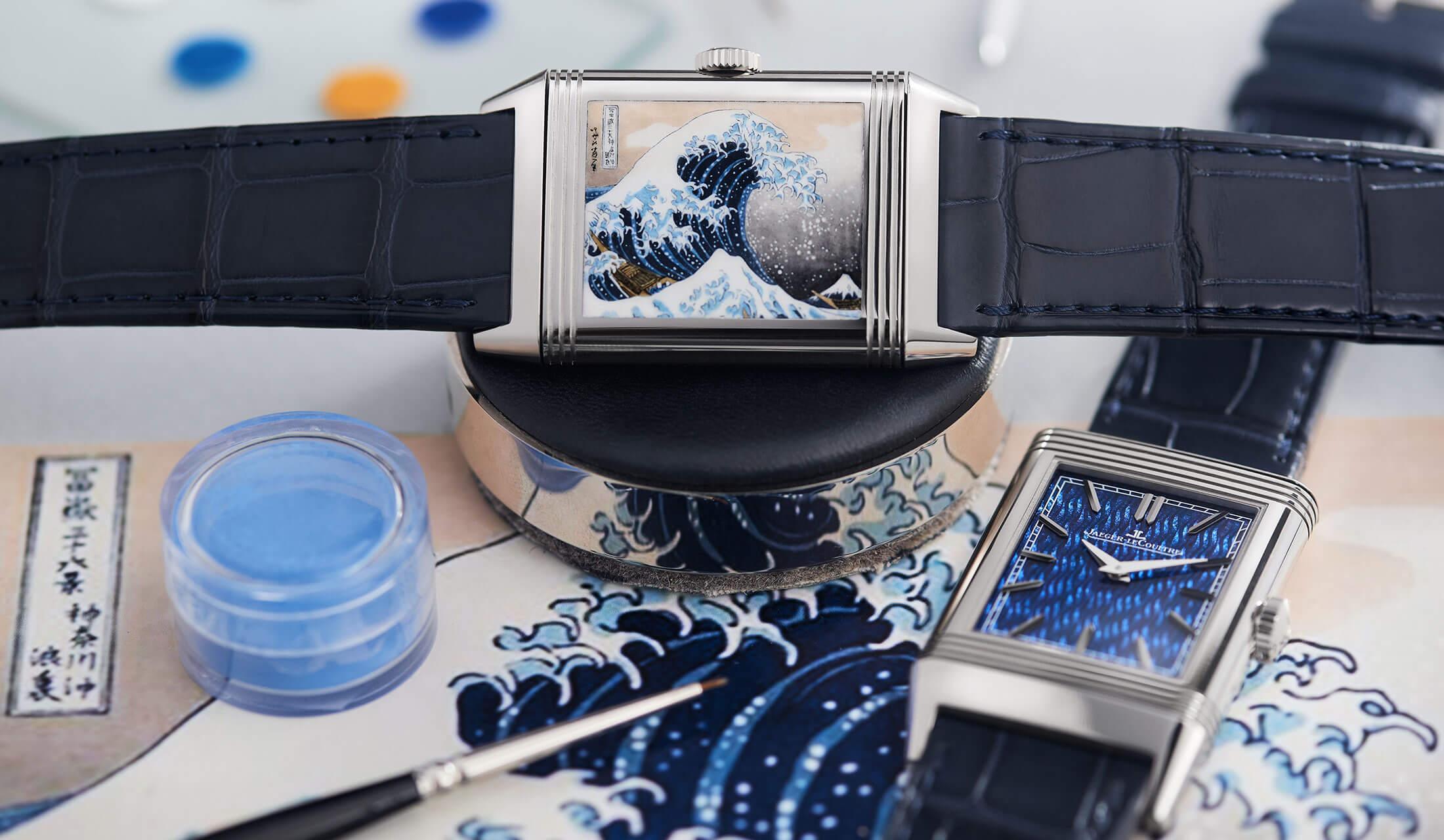 葛飾北斎の名画「神奈川沖浪裏」をエナメル画で再現したジャガー・ルクルトの名品時計「レベルソ」