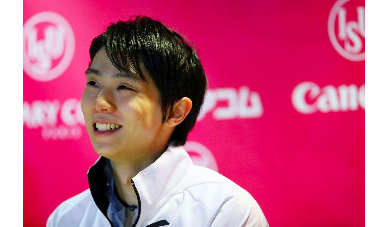 笑顔を見せる羽生結弦選手 写真:長田洋平/アフロスポーツ