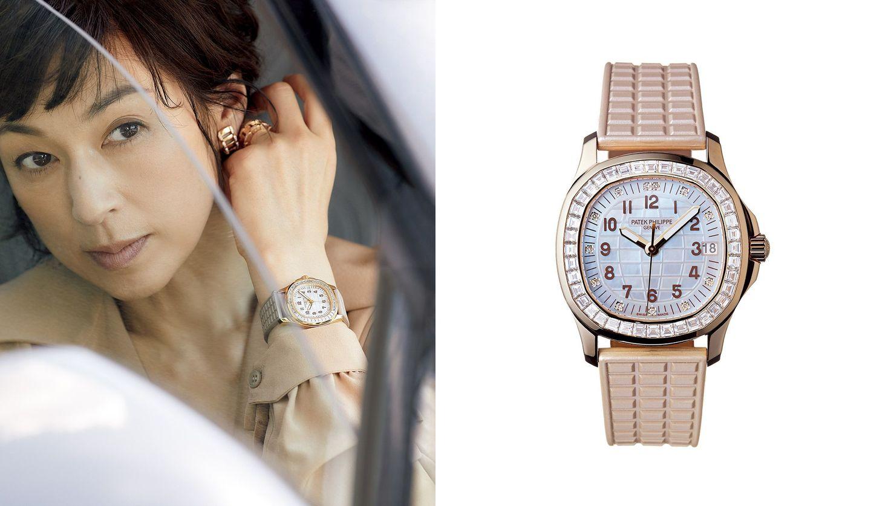 パテック フィリップの時計と、その時計を身に着けた鈴木保奈美さんの写真。