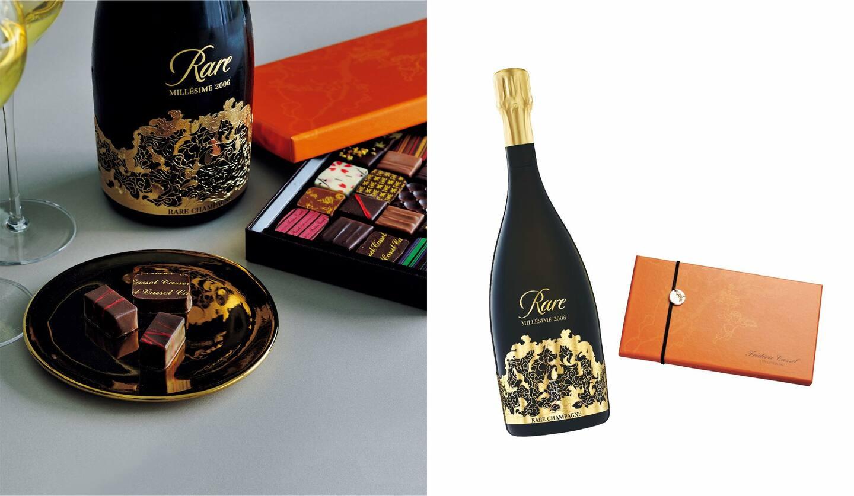 写真右/(左から)レア・シャンパーニュ『レア2006』¥25,000、フレデリック・カッセル クリオロとルイ・フランボワーズ 2種が入っているのはショコラアソート30個入り¥9,600