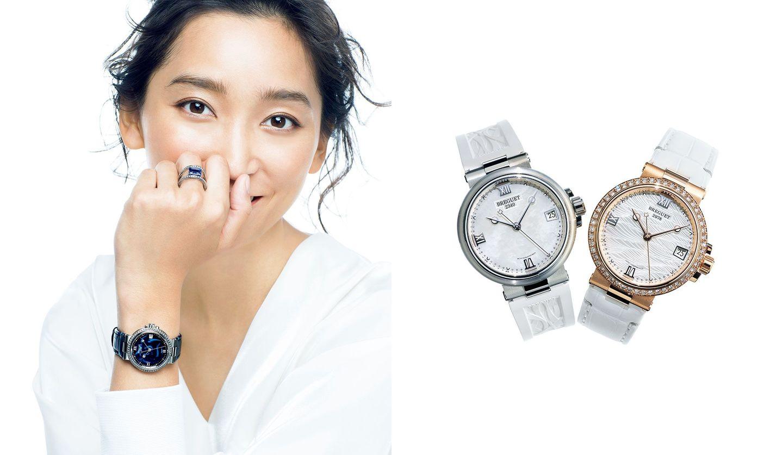 ブレゲの腕時計『マリーン レディ 9518』を着用しているモデルの杏さん