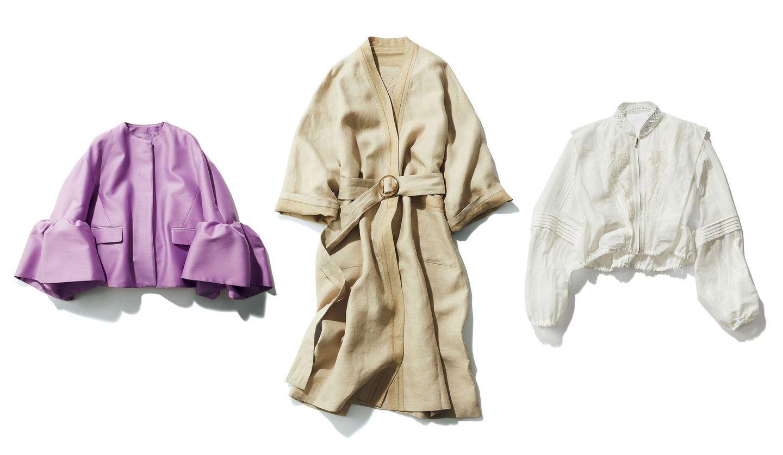 「ジョルジオ アルマーニ」のコート、「マメ クロゴウチ」のブルゾン、「ドゥロワー」のジャケット