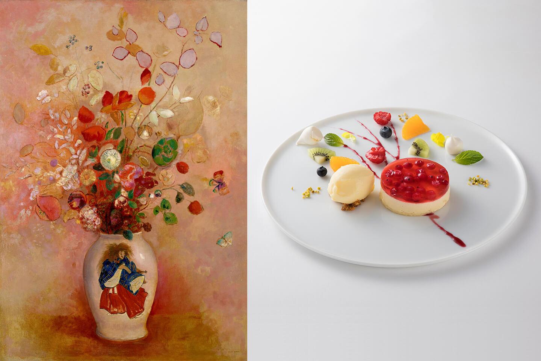 ルドンの絵画とそれをモチーフにした洋梨のババロア
