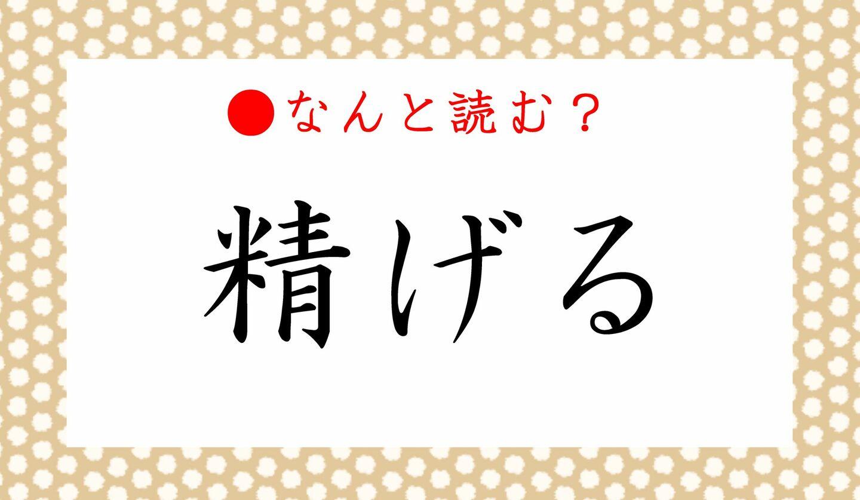 日本語クイズ 出題画像 難読漢字 「精げる」なんと読む?