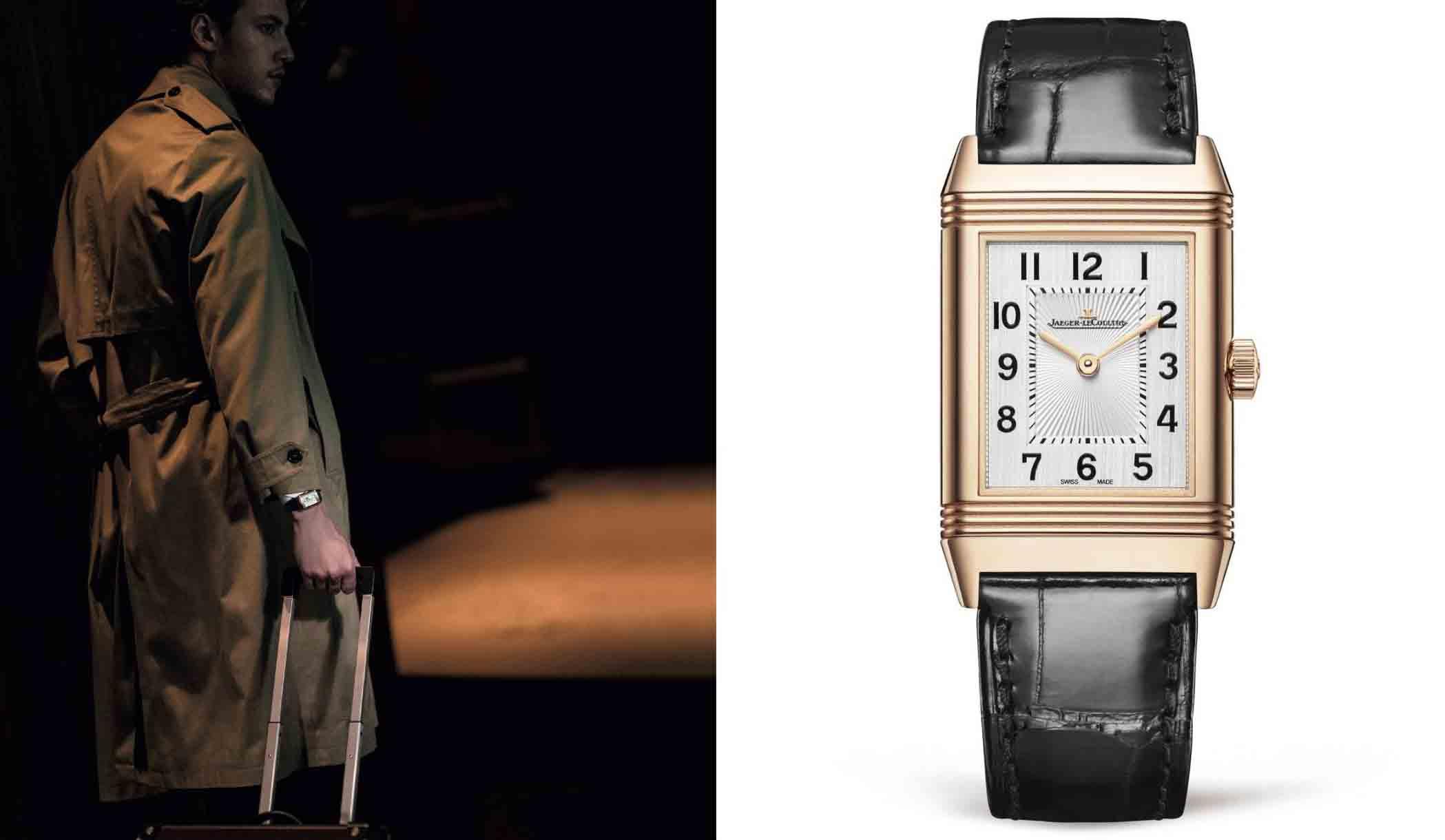 右はジャガー・ルクルトの時計、『レベルソ・クラシック・ミディアムスリム』。左はそれを着用する男性。