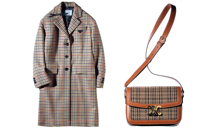 プラダのチェスターコートとセリーヌのトリオンフバッグ