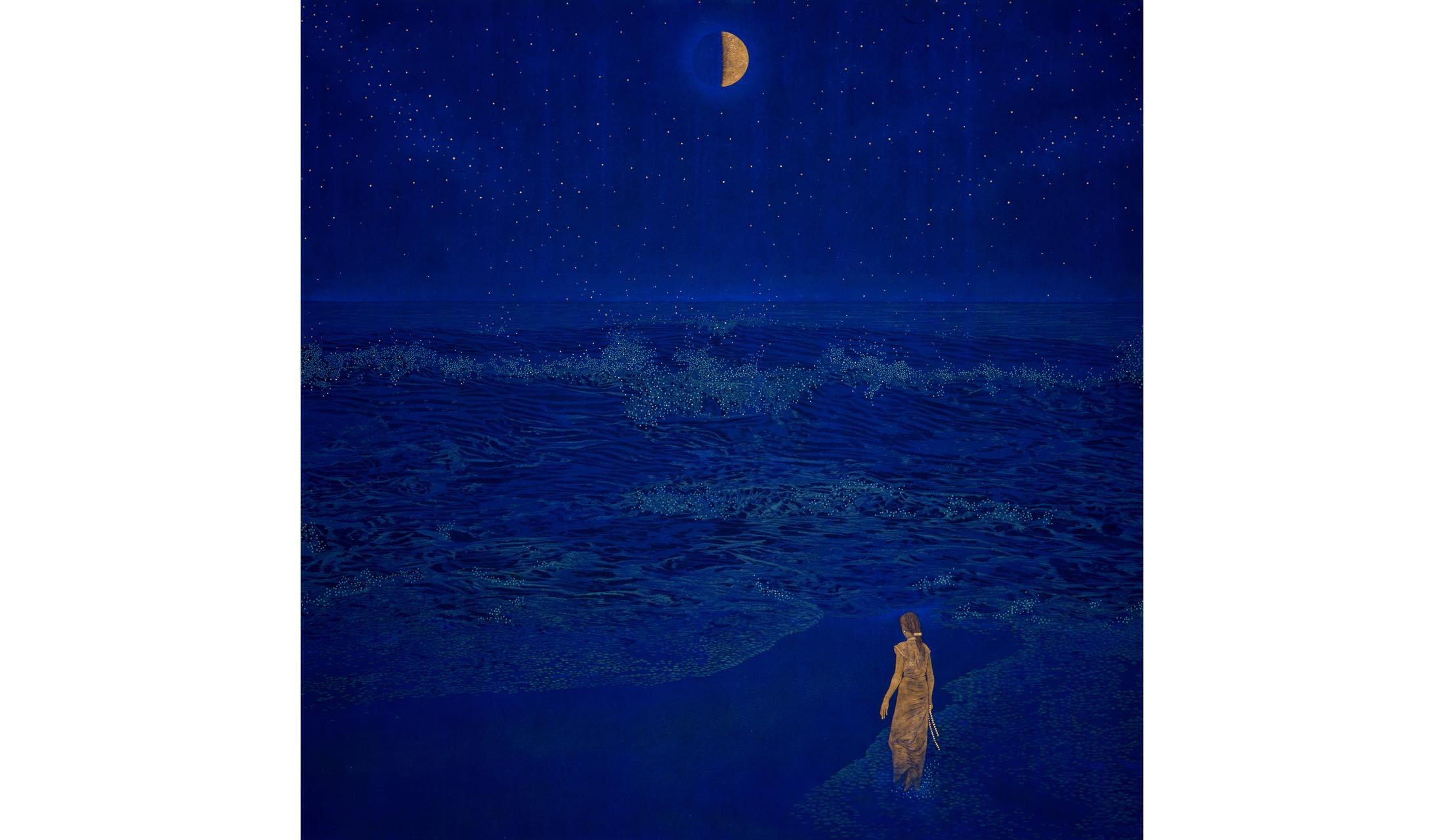 日本ん画家・福王寺一彦氏による「Starry in the moon」の作品