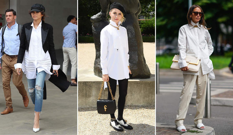 白のロングシャツをゼンデイヤ、キャロリン・ダウア、クロエ・ハロウィッシュ