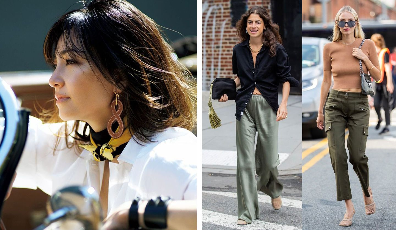 「TOKYOトリコロール」を着こなす女性と、カーゴパンツを履いた海外セレブのスナップ