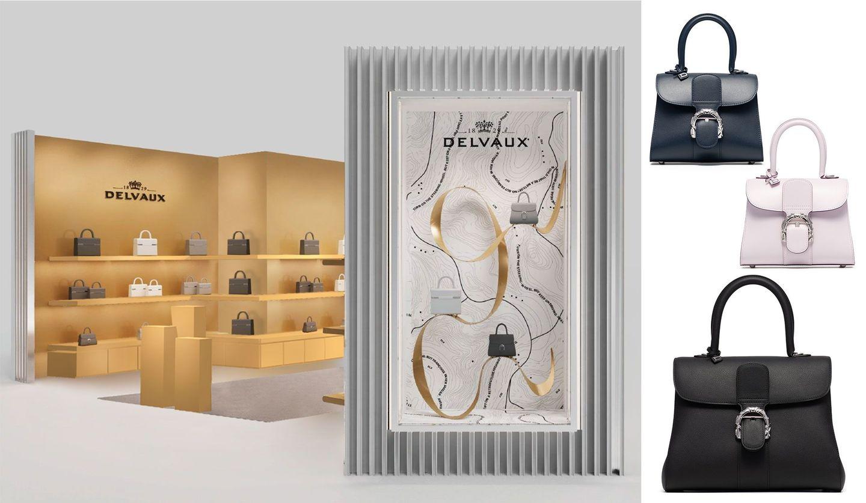 伊勢丹新宿店でのデルヴォーのポップアップストアのイメージと、ボップアップストア限定バッグ&先行発売バッグの写真